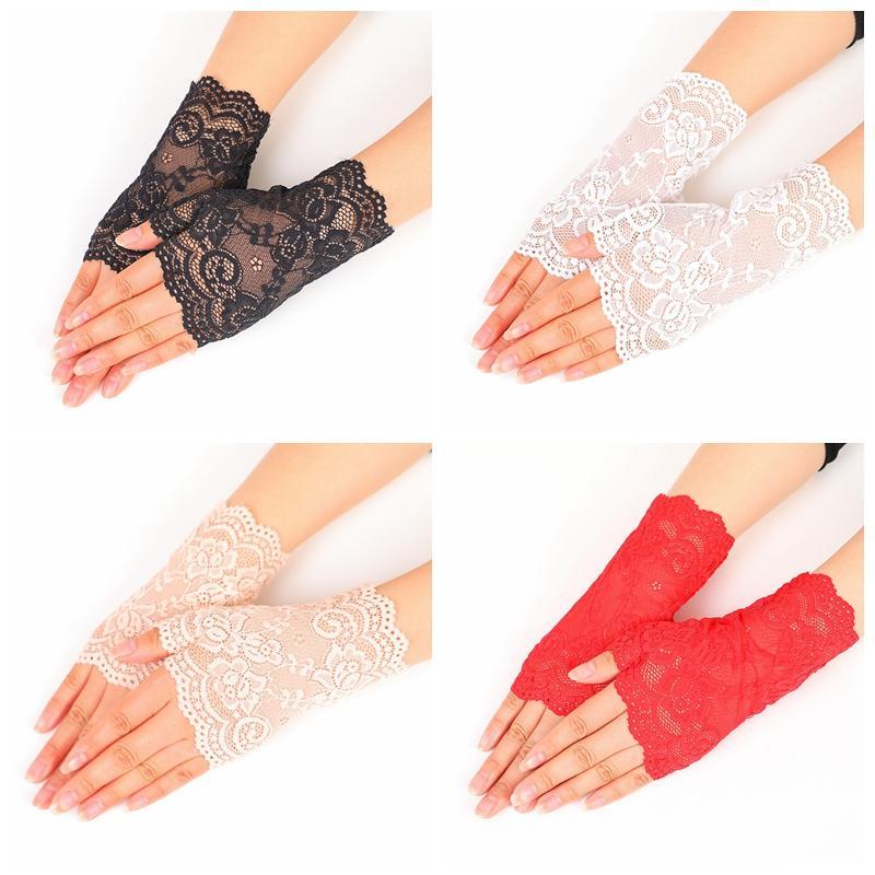 Metà merletto sexy Finger Gloves esterna estate della donna di guida anti UV sottile guanti di pizzo solido di colore di modo Finger Semi Guanto DBC BH2887