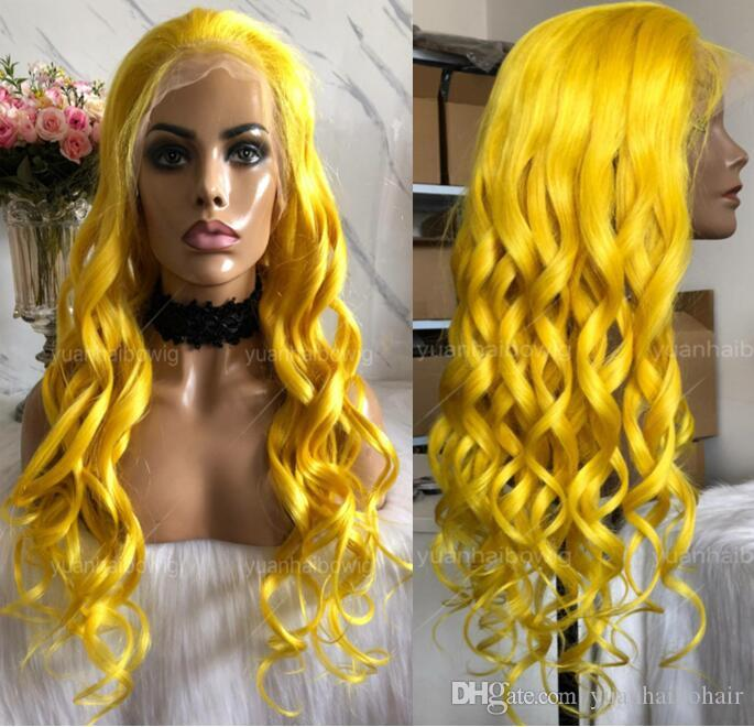 Yellow Full Lace Wig High Quality Peruvian Hair Virgin Human Hair Color Lace Wigs Celebrity Wig Loose Wave Front Lace Wigs Free Shipping