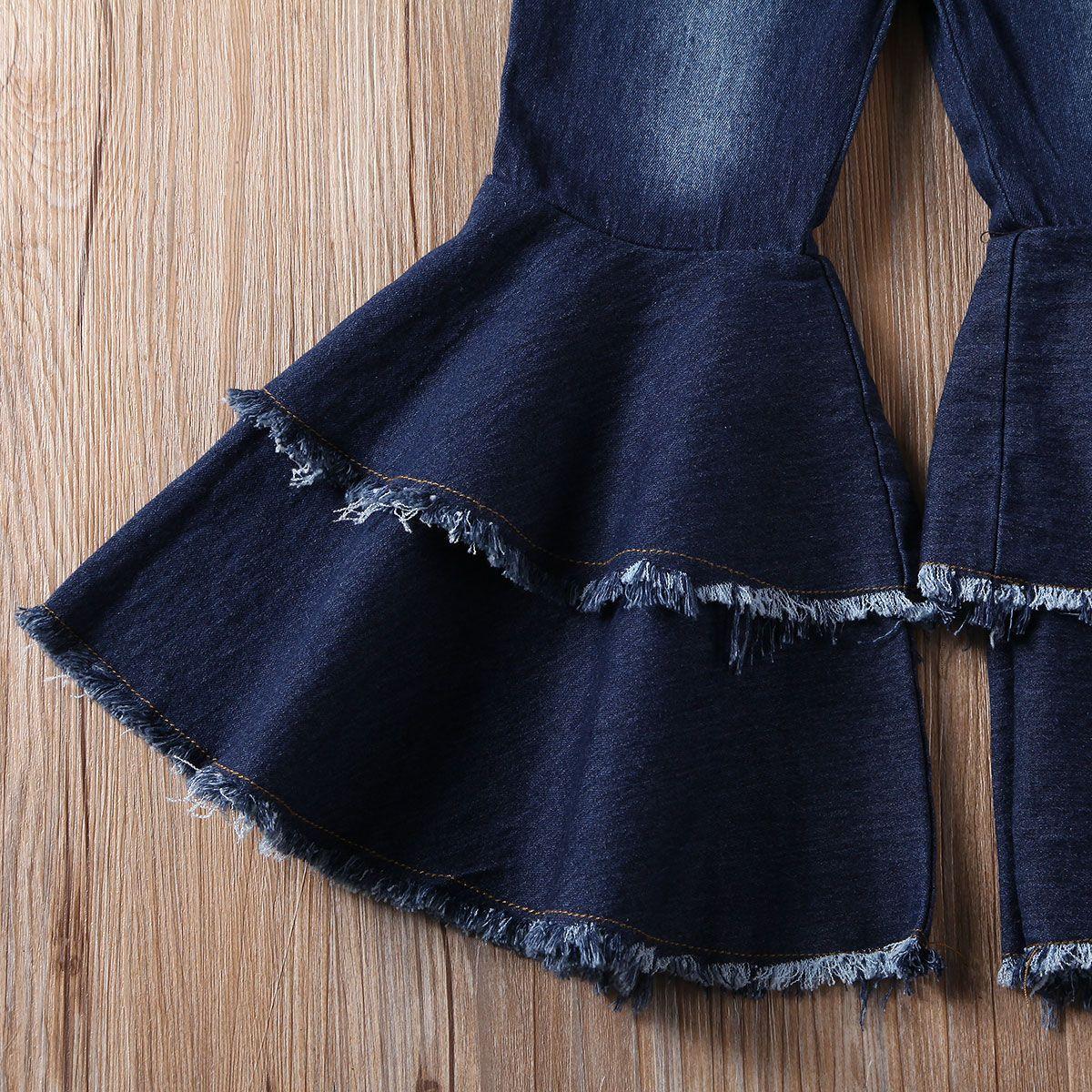 Bebek Bebek Çocuk Kız Bell-Bottoms Pant Denim Yüksek Bel Geniş Bacak Jeans Pantolon Pantolon 2-7Y