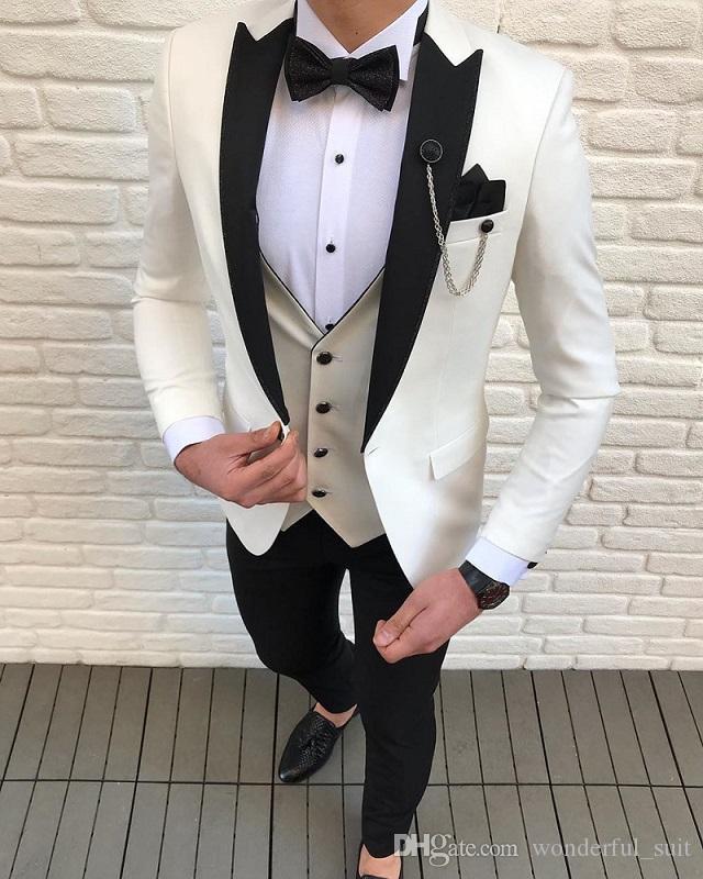 Trajes 3 Piezas ajuste delgado del ocio de los padrinos de marfil blancos de la solapa esmoquin de negocios para la boda formal (Blazer + Pants + vest)