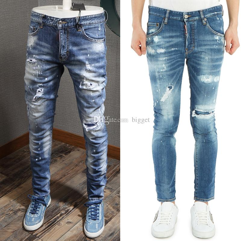 Cool Guy Jeans Damage Painted Effect Worn Bleach Skinny Fit Denim Pants Man Design Destroyed Cowboy Trousers