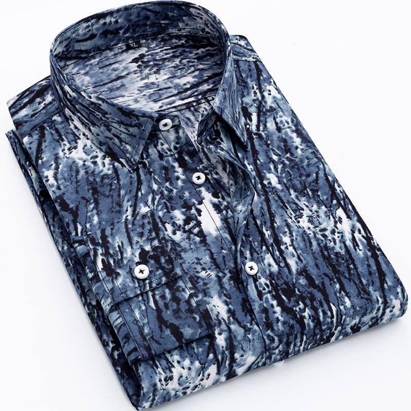 2020 Chegada Nova camisa dos homens 100% poliéster manga comprida Causal Moda sarja Floral Impresso masculinos shirt da mola camiseta Marca DS374
