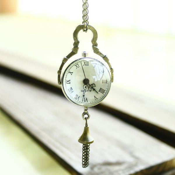 wholesale Hot Marketing Retro Vintage Bronze Quartz Ball Glass Pocket Watch Necklace Chain Steampunk Jun 1