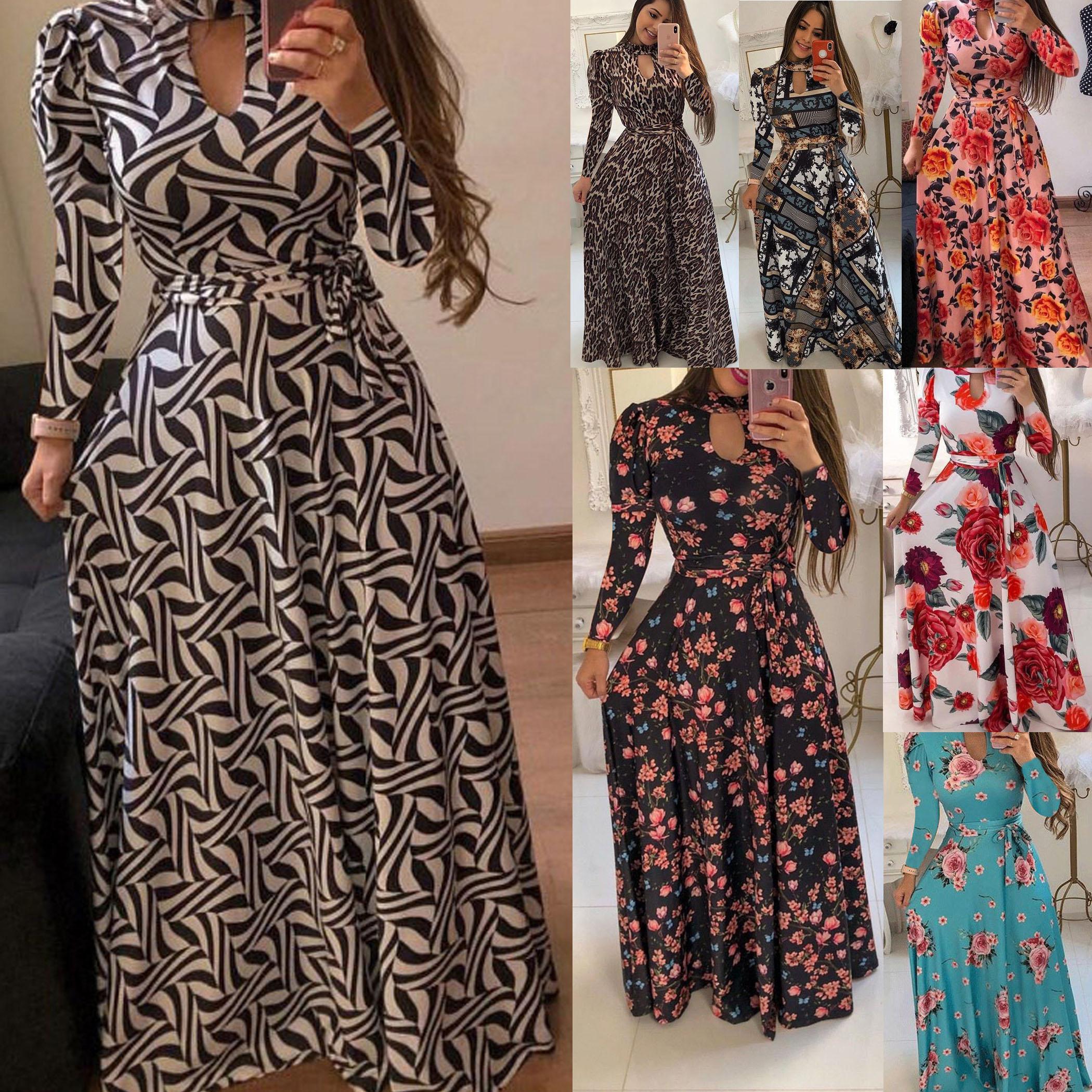 Plus Size 5XL Robes Femmes Designer Impression à manches longues Fashion Flower Motif Vêtements ethniques 2020 New Girls V Neck Wear Party