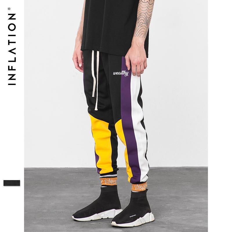 INFLATION Skinny Hip Hop Fashion Men Cargo Pants Casual Ankle-length Harem Jogger Elastic Waist Mens Casual SweatPants 8849W Y19061001