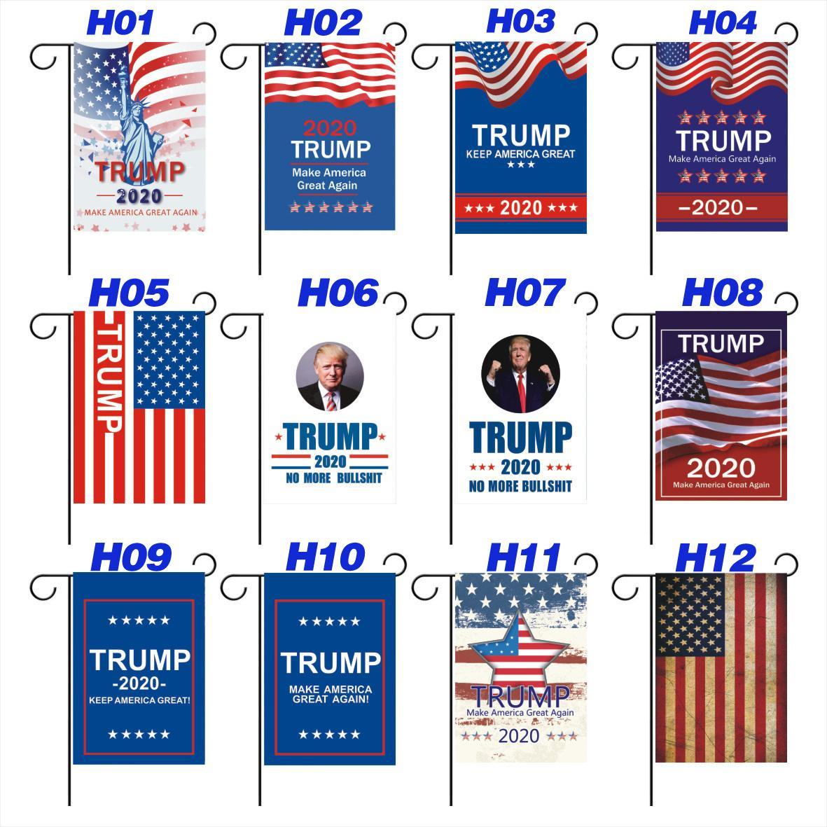 30 * 45CM الرئيس الأمريكي الكبير دونالد ترامب 2020 العلم الوجهين نسيج الانتخابات الأميركية في الهواء الطلق الديكور لساحة الحديقة