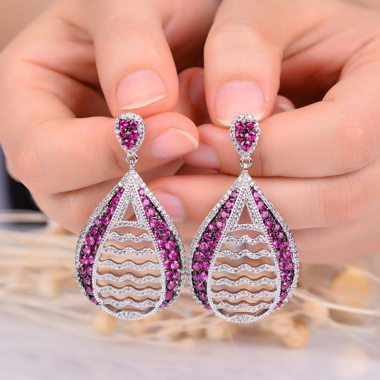 Europäische und amerikanische Zubehör neue Ohrringe elegante Luxus-Set rot Mode Ohrringe Wassertropfen gem Hersteller-Direktvertrieb