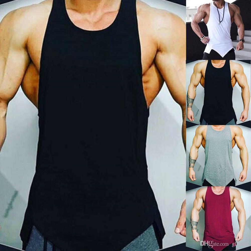 Top T-shirt Bodybuilding Sport Fitness Vest Muscle Gym Hommes Débardeur sans manches