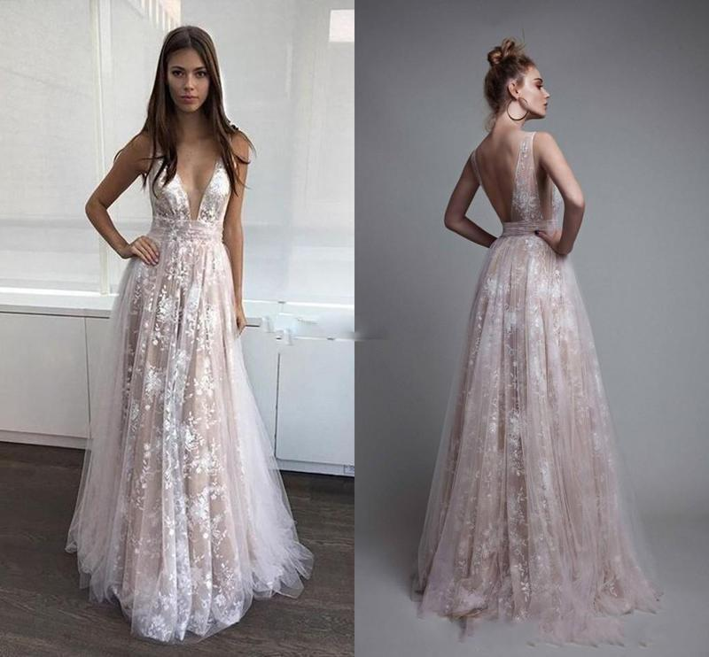 2019 Newest Lace Backless V Neck Tulle Ivory Nude Sexy Paolo Sebastian Prom Dresses Celebrity Dresses Beach Berta Prom Dresses