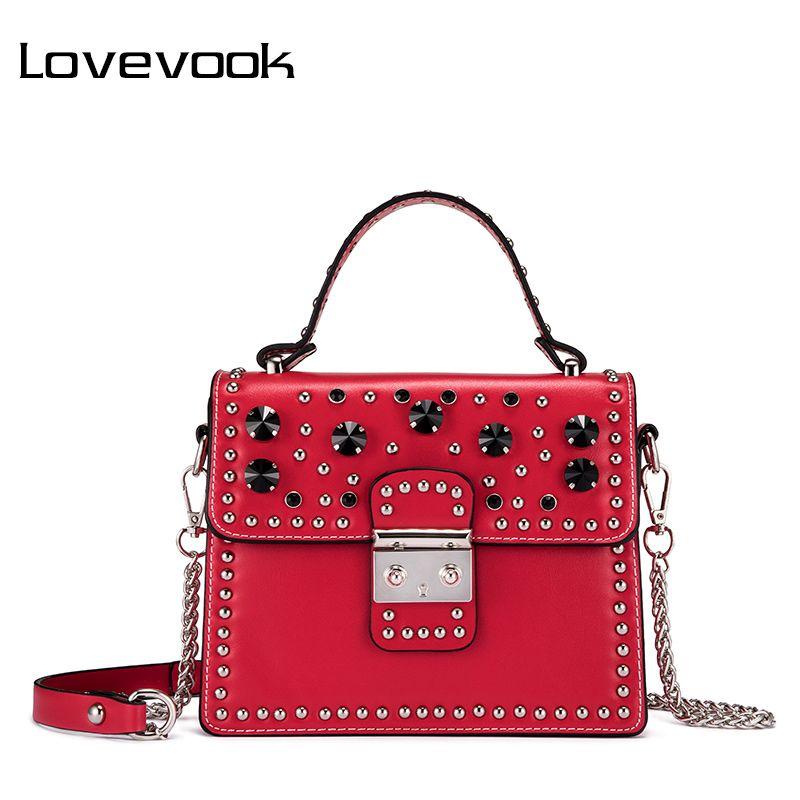 LOVEVOOK handbag women bags female shoulder crossbody bag ladies messenger bags rivet chains 2018