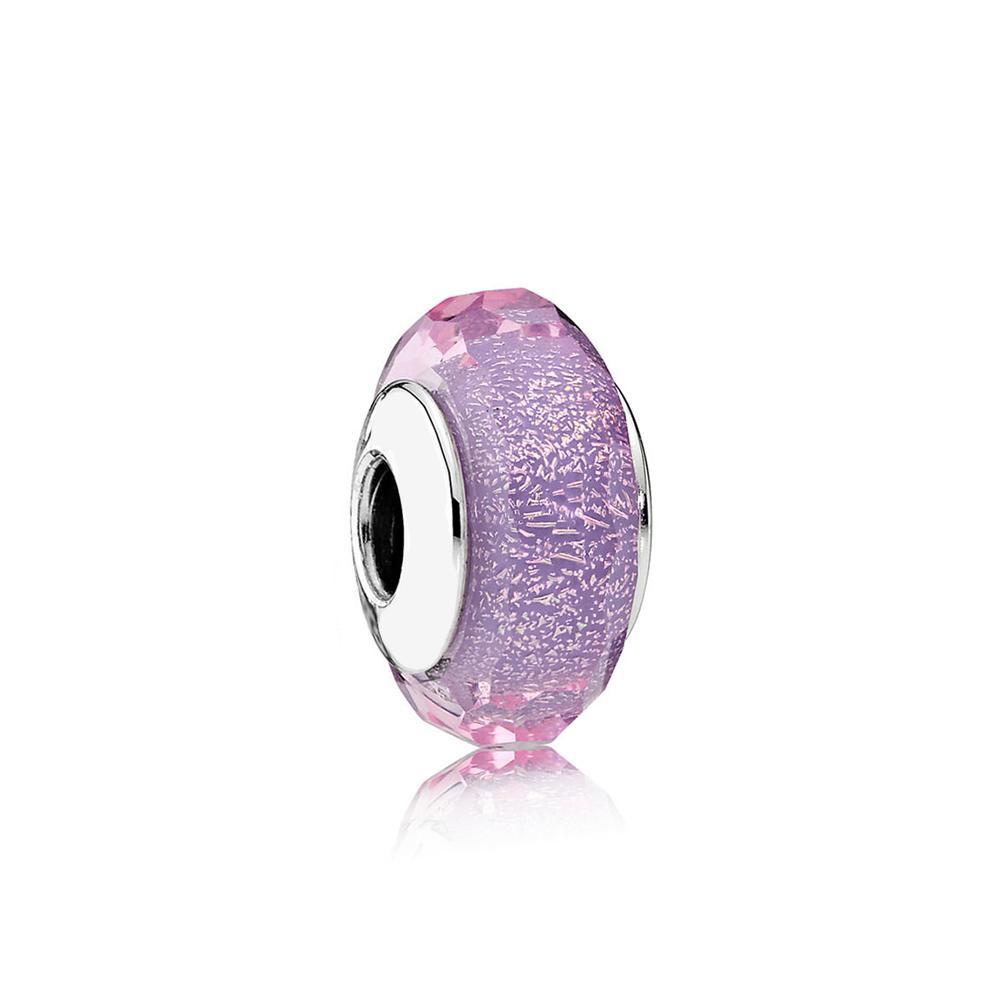 НОВЫЙ 100% Стерлингового Серебра 1: 1 Glamour 791651 Фиолетовый Shimmer Очарование Стеклянная Бусина Оригинальные Женщины Свадебные Ювелирные Изделия 2018 Подарок