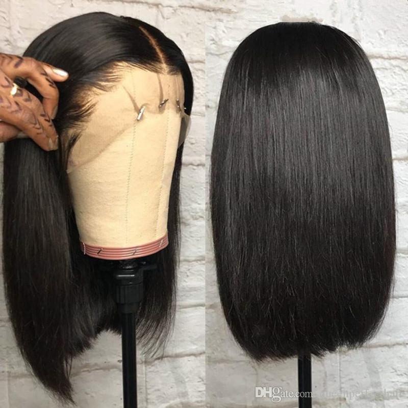 Hairline Natural macio suíços Lace Front Wigs 14inch preto Bob peruca curta resistente ao calor Hetero Synthetic Cosplay peruca festa da Mulher Negra