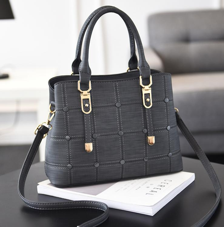 feminino sacos de ombro 2019 bolsa versão coreana dos botões decorativos xadrez Sacos da bolsa