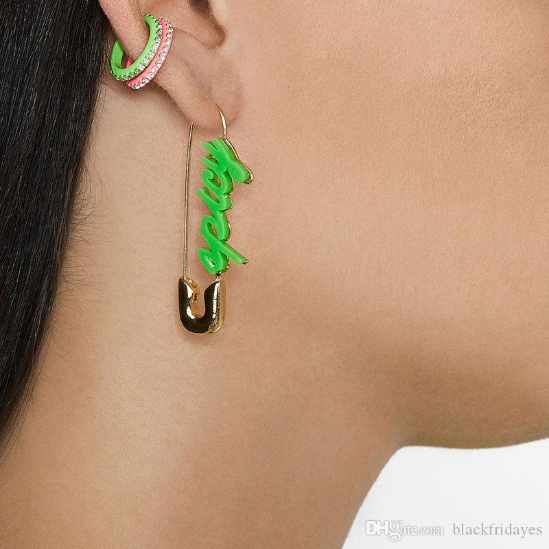 multiple colour Gold-plated pin earrings fashion paper clip with diamond earrings hairpin alloy fashion accessories street bag accessories