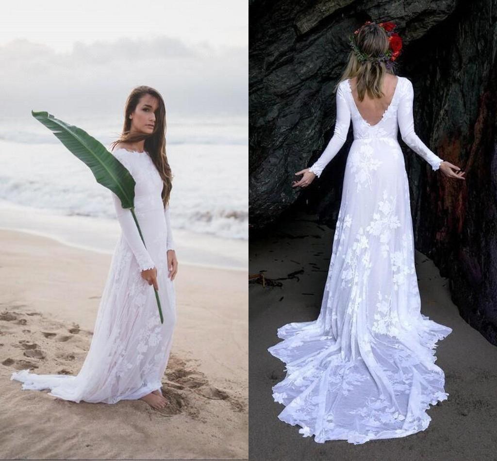 Il vestito da cerimonia nuziale della spiaggia del manicotto della spiaggia di stile della Boemia Backless White Sweep treno elegante 2019 inverno abiti da sposa su misura