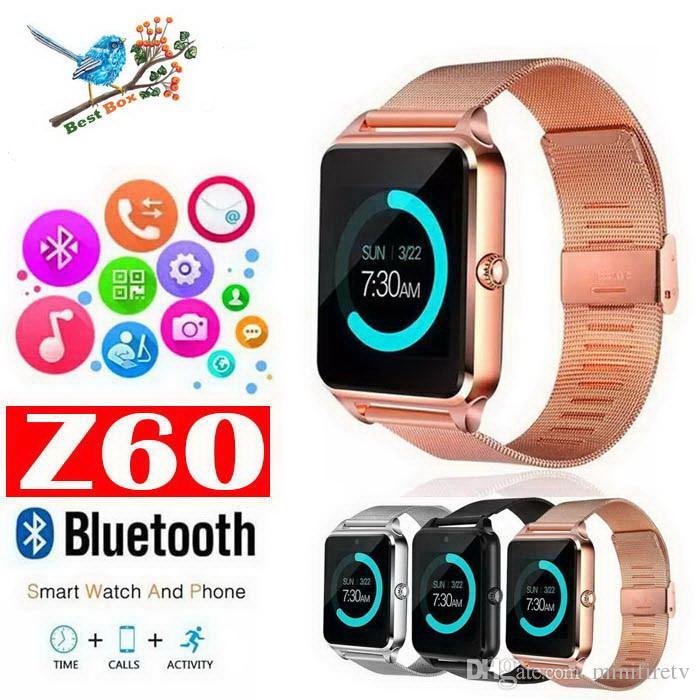 Bluetooth montre téléphone intelligent Z60 support en acier inoxydable SIM TF carte Caméra Fitness Tracker GT08 GT09 DZ09 V8 Smartwatch pour IOS Android