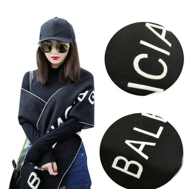 2018 Nuevo mantón negro delgada carta moda femenina imitación chal de cachemira cachemira flecos bufanda de otoño e invierno y los hombres