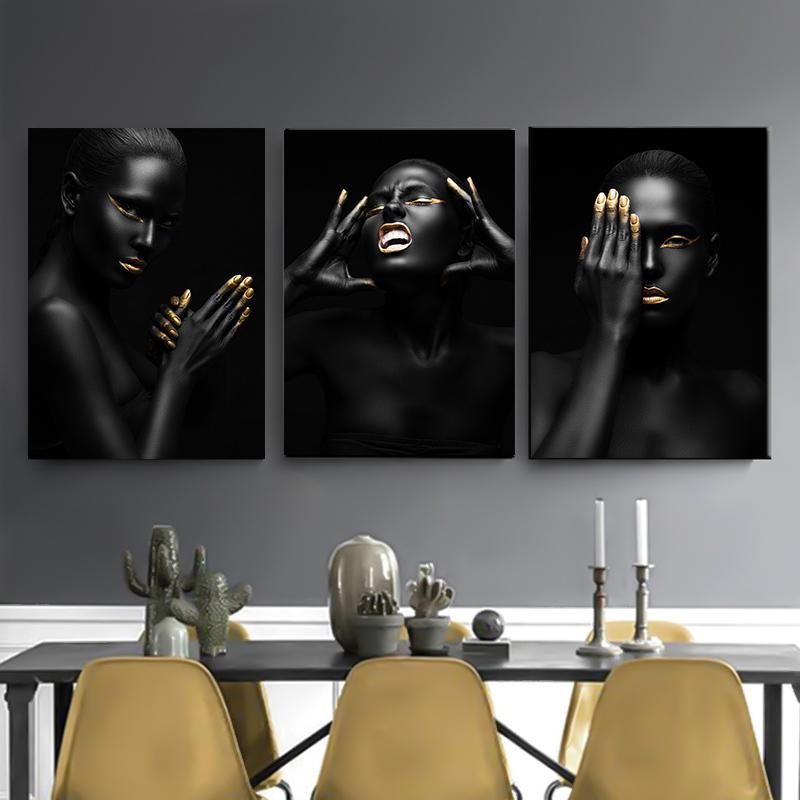 Scandinave négro-africaine nue Femmes Impression sur toile Peinture à l'huile Sexy Girl Poster Wall Art Photos de Salon Décor Y200102