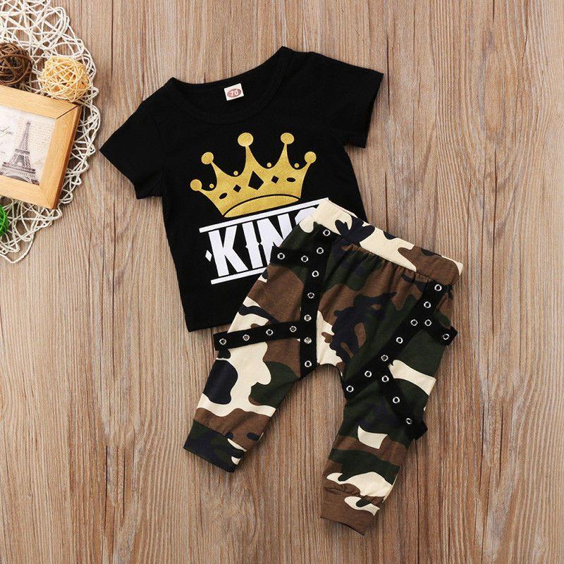 Pudcoco Boy Set 0-5Y appena nati bambini neonati maschi Top T-shirt Camo pantaloni 2pcs Outfits set Casual 0-5years