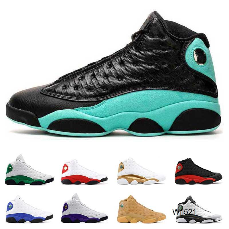 Nouvelles chaussures de basket-ball Hommes 13 13s ISLAND Lucky Green Green Court PURPLE Bred Atmosphere formateurs Gray ALTERNATIFS Sport taille 7-13