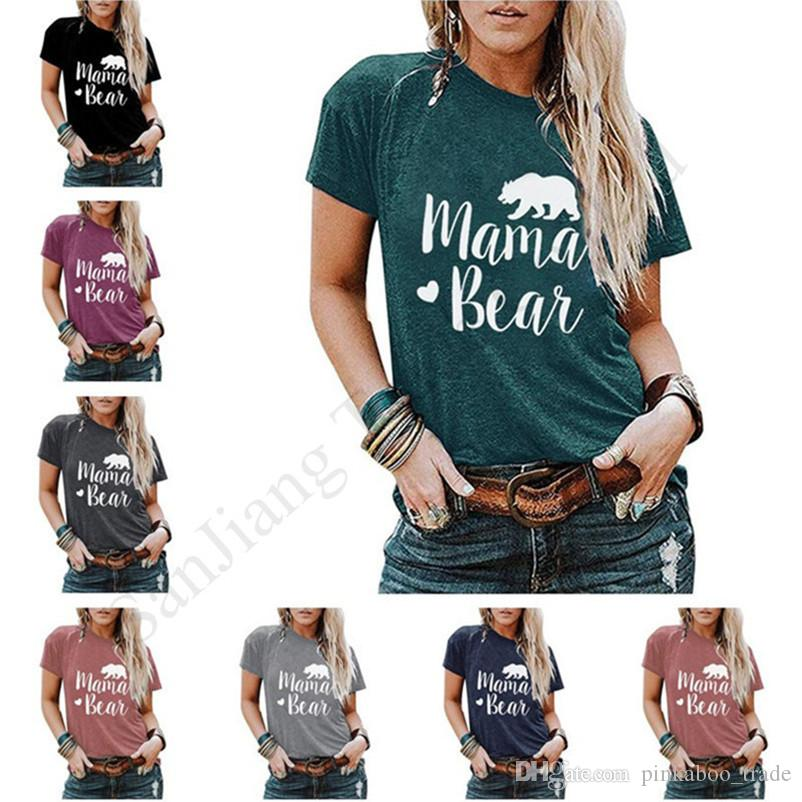 Couples Trendy Pullover Tees MAMA BEAR Print Men Woman Top Clothes Summer Short Sleeve Round Neck T-shirt Cartoon Sports Shirt 2020 E1903