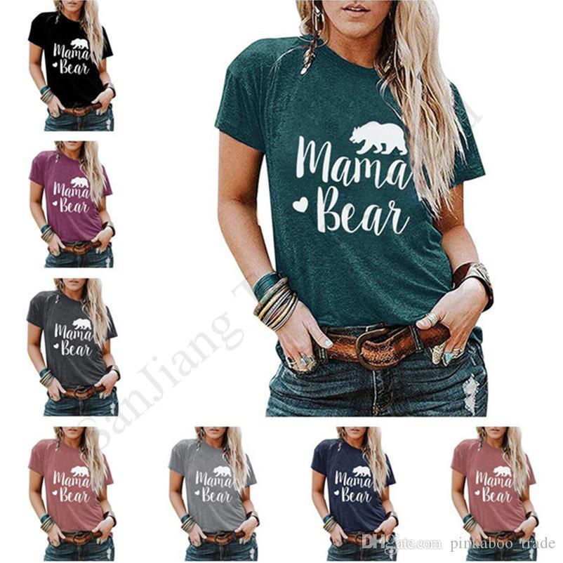 Couples Trendy Pullover Tees MAMA BEAR Print Men Woman Top Clothes Summer Short Sleeve Round Neck T-shirt Cartoon Sports Shirt 2020 E1903