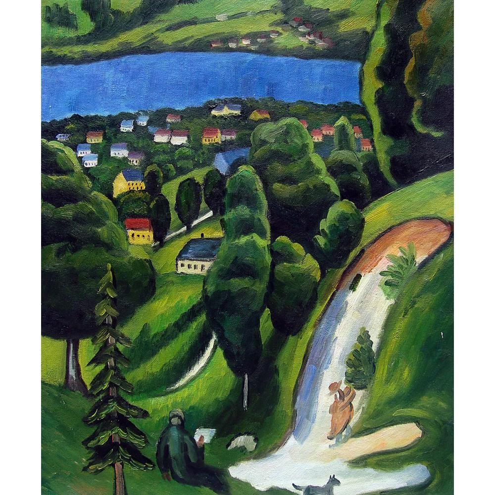 art mur de toile Paysage peint à la main sur le Teggernsee avec un homme de lecture huile abstraite Août Macke peinture pour la décoration chambre