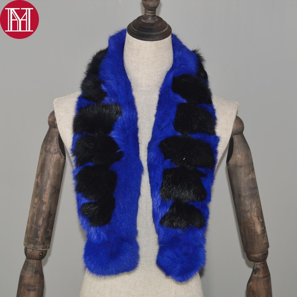 Pin caliente de las mujeres bufanda de piel de conejo real de piel de conejo natural suave silenciador de dama de moda genuina bufandas de piel de conejo al por mayor al por menor