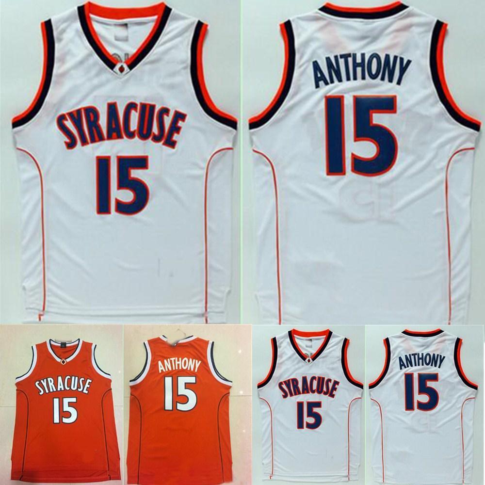 대학 15 Camerlo Anthony Jersey NCAA Men Syracuse 오렌지 농구 유니폼 Anthony 스포츠 팬 자수 검정색 흰색
