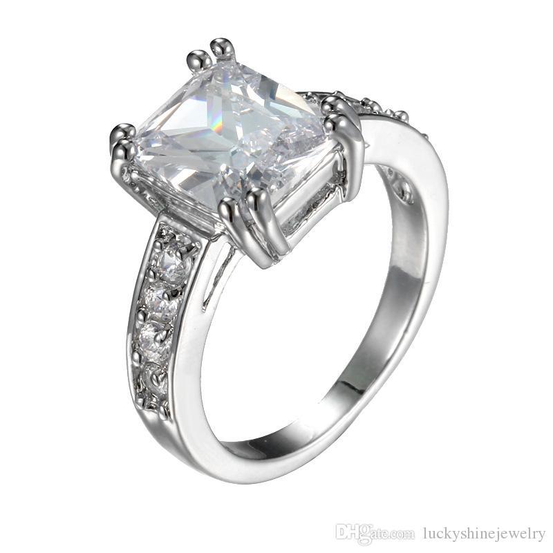 Venta al por mayor color de la mezcla 10 unids Luckyshine lujo 925 anillo de cristal cuadrado de plata Cubic Zirconia anillos de piedras preciosas para mujer anillos de boda