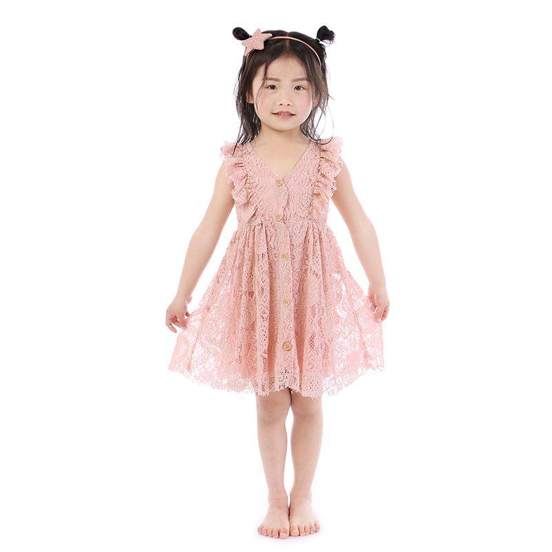 Latest Baby Girls Clothes Wholesale V-neck Lace Kids Boutique Clothing Children Boutique Clothing Button-up Toddler Lace Dress
