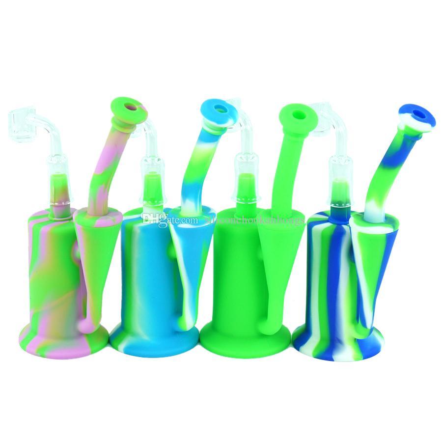 Food-grade silicone Bong reciclar vidro Dab Rig tubulações de água Oil Rigs Bongs tigela de silicone com quartzo banger erva bubbler