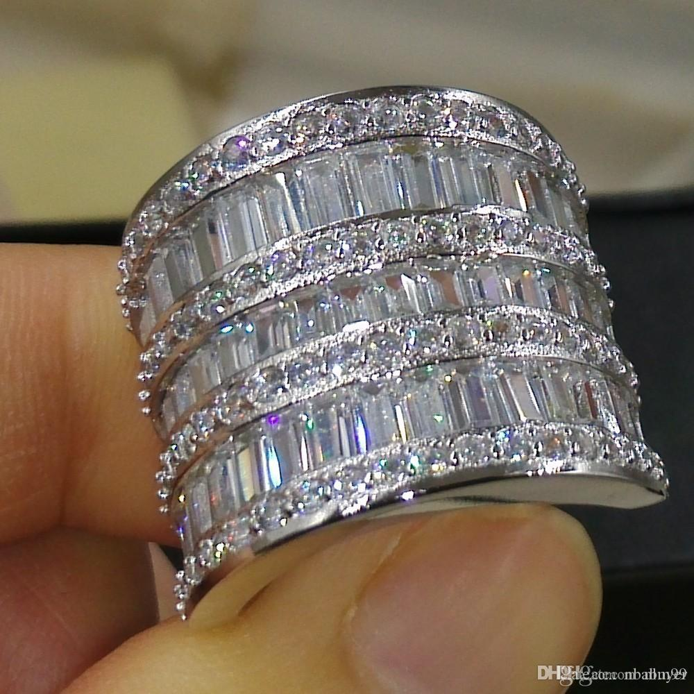 Nlm99 monili di lusso a mano argento 925 della principessa Cut ampio anello Zaffiro bianco diamante della CZ delle pietre preziose donne fascia di cerimonia nuziale del regalo dell'anello