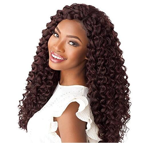 Hot! 3Pcs 20inch Synthetic Hair Ocesn Wave Crochet Braids Deep Twist Ombre Deep Wave Braiding Hair Extensions for Black/White Women