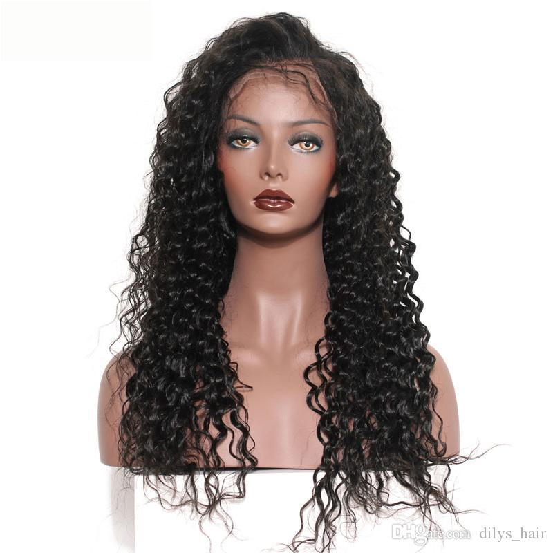 Dilys Deep Wave Deep Hair Capelli Parrucche Blacchieri Nodi Blackots Pizzo Parrucca frontale brasiliana Capelli umani indiani indiani brasiliani Colore naturale 10-22inch