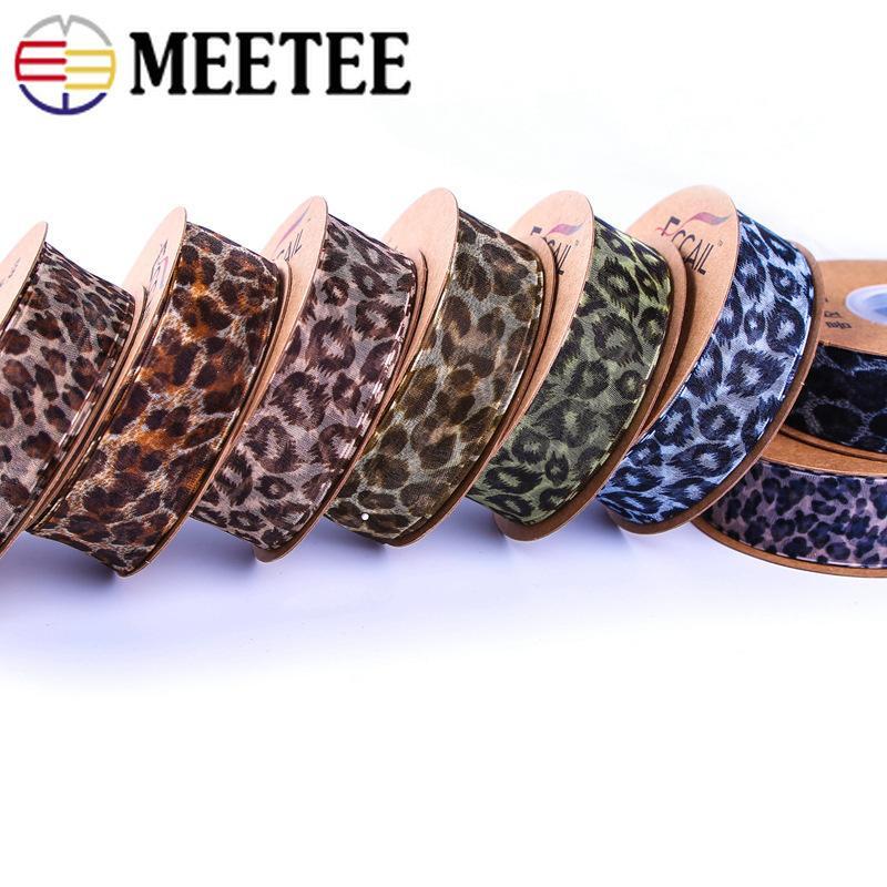 Meetee 25 / 40mm leopardo chiffon del nastro di garza in poliestere Finiture in pizzo fai da te Nastro per capelli accessori floreali Packaging RC011 decorativo