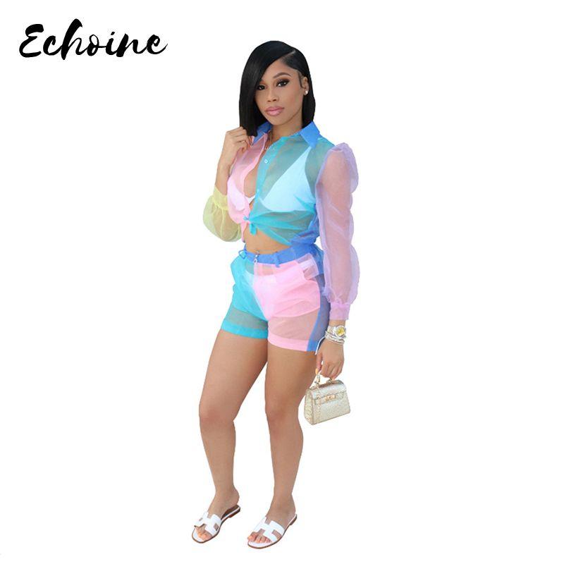 Echoine atractivo de las mujeres de organza de ver a través de las blusas de manga larga camisas tapa y los cortocircuitos 2 de dos piezas de moda del color del remiendo Equipos
