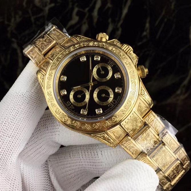 Nueva A2813 automática del reloj para hombre del tatuaje tallada en oro amarillo Dial Negro Diamante Markes acero inoxidable relojes pulsera 116500 hi_watch 39c3