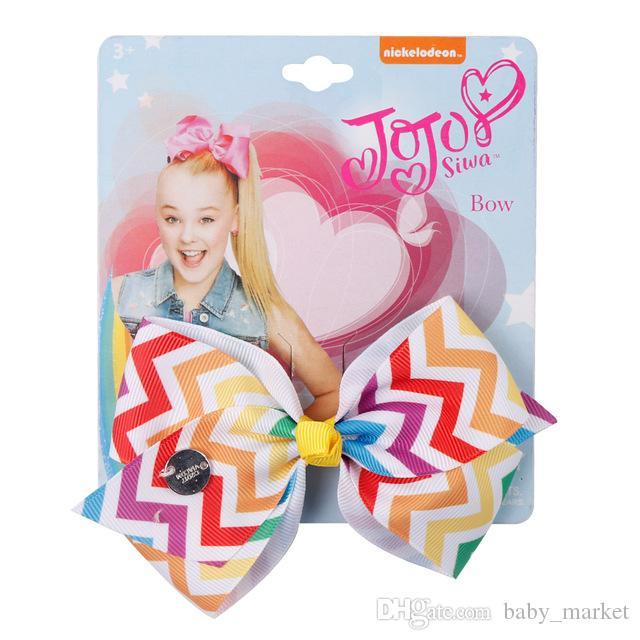 5'' JoJo Bows Rainbow Unicorn Printed Hair Bows Grosgrain Ribbon Hairpins Handmade Bowknot Girls Princess Party Hair Accessories 12pcs