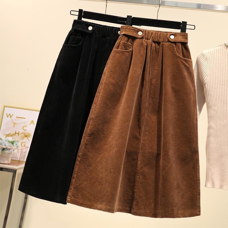 Lucyever más el tamaño de las mujeres falda de pana Otoño Invierno de la vendimia de Harajuku suelta una línea femenina falda larga de talle alto Señora Faldas 5XL V191019