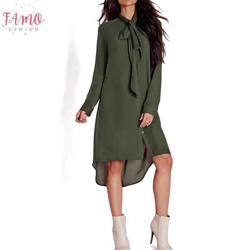 Nueva camisas de manga larga vestidos de corbata de lazo irregular elegante túnica de la gasa floja otoño mujeres se visten de moda vestido Oficina Gv436