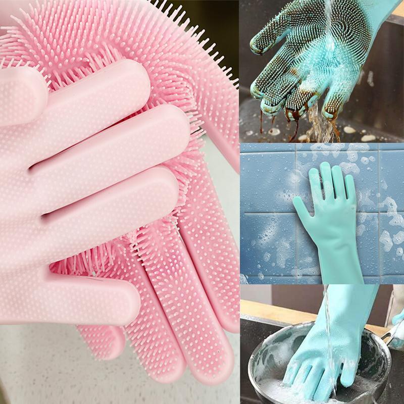 غسل قفازات سيليكون واحدة طبق الغسيل قفاز الكلب الغذاء فرشاة تنظيف السيارات غسالة الصحون قفازات مكملات مطابخ