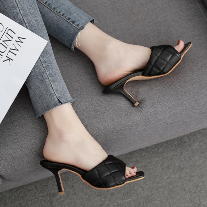 Art und Weise PU-Muster PU-Platz Kopf Peep Toe 8cm High Heel Hausschuhe Summer Fashion Slip On Thin Heels Slides Frauen Mules