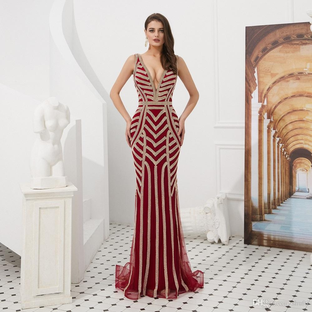 2019 New Fashion Deep V-Neck Open Back Brilliant Beaded Sweep Train Luxury Formal Gown FishTail Evening Dress