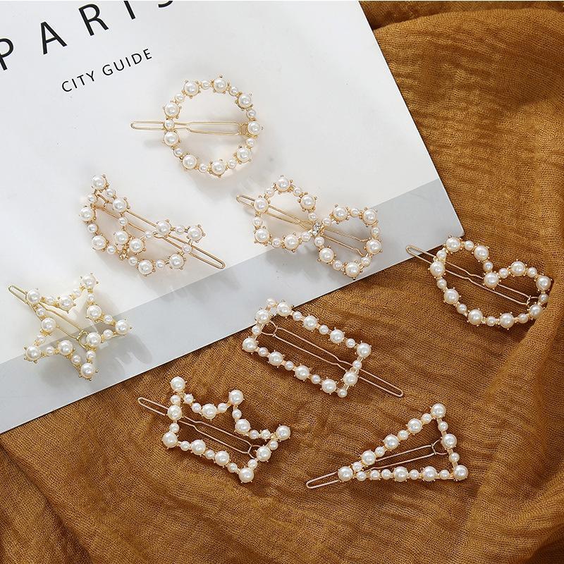Nuove clip di capelli della perla versatile netta metallo rosso clip di copricapo ins mix di moda clip di tornanti vento rana parola Pearl and match