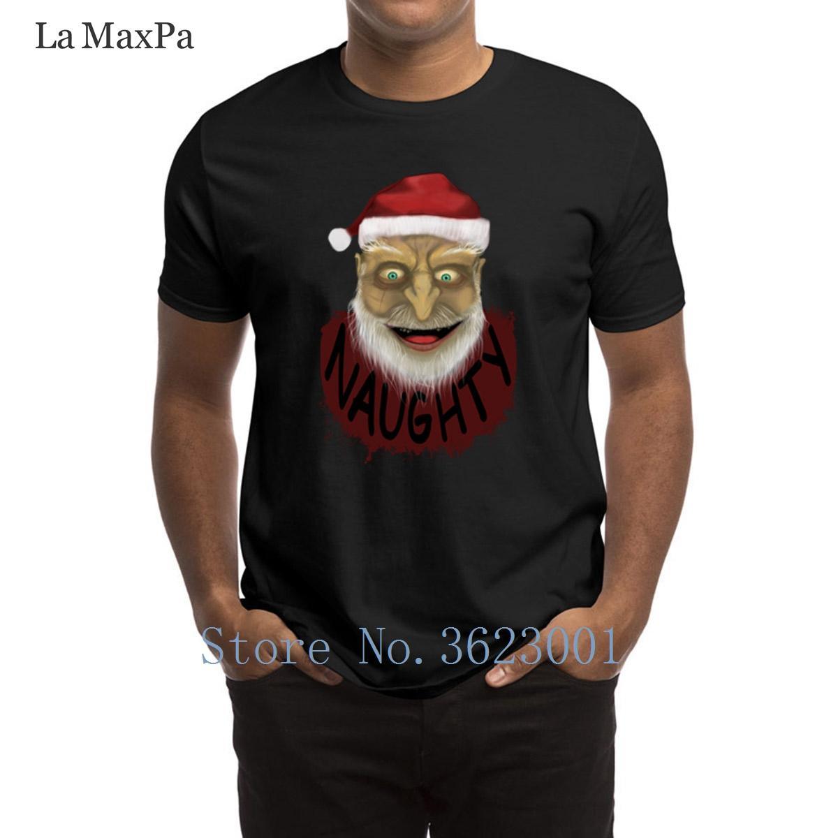 Impresión de cartas camiseta de los hombres de Santa espeluznante de los hombres de la camiseta humorística de verano estilo de la camiseta Hombre populares O-Cuello T Shirts Tee Tops