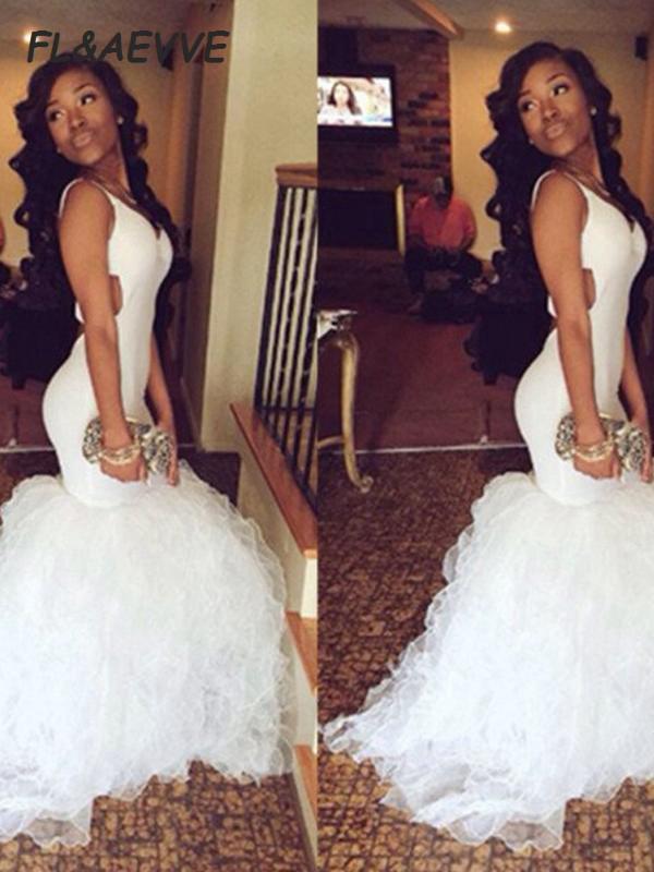 Blanc robes de soirée sirène 2020 chérie manches en satin balayage train brosse soirée bal Robes de soirée