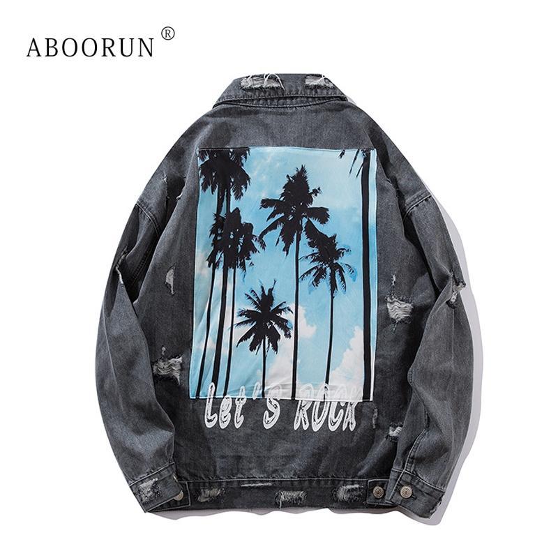 ABOORUN мужская хип-хоп джинсовая куртка мода деревья печатных разорвал джинсовая куртка весна осень пальто для мужчин x2340