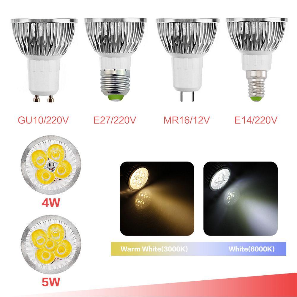 GU10 MR16 E27 E14 LED 반점 빛 컵 4W 5W 220V 110V 85-265V 백색 온난 한 백색 흐리게하기