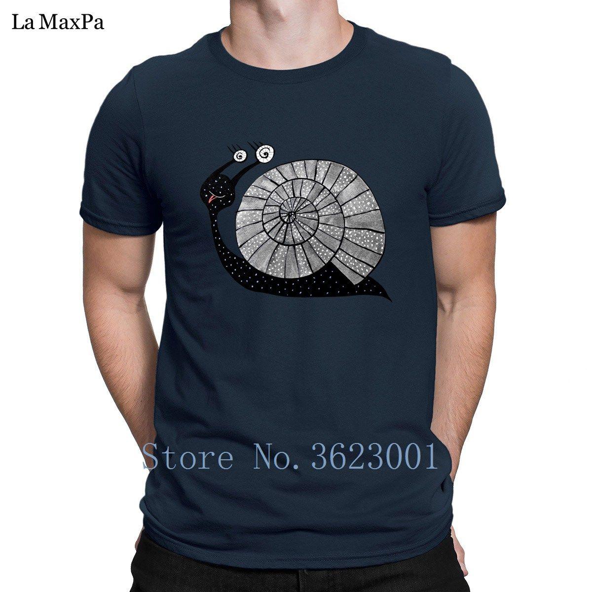 Custom Letters Man Cartoon Snail With Spiral Eyes Men's Tee Shirt Newest O-Neck T Shirts Slogan T-Shirt Cheap 2018